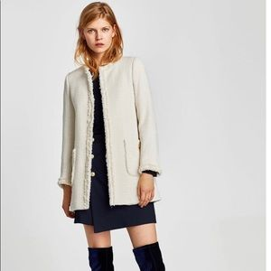 Zara Cream Tweed Jacket Size Small  NWOT